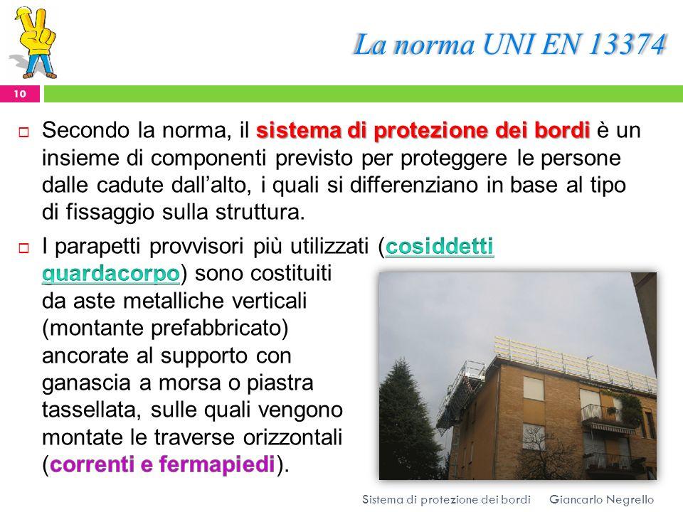 La norma UNI EN 13374 Giancarlo Negrello 10 Sistema di protezione dei bordi