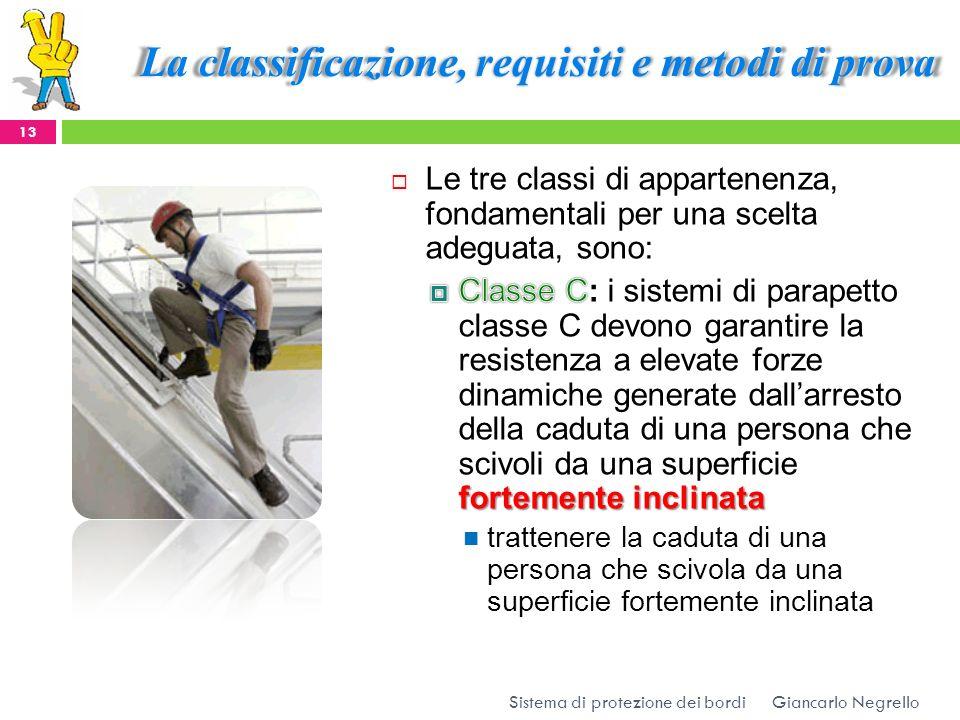 La classificazione, requisiti e metodi di prova Giancarlo Negrello 13 Sistema di protezione dei bordi