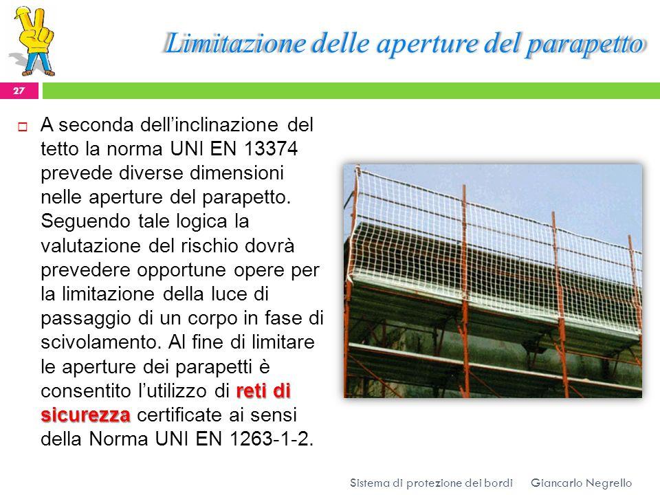 Limitazione delle aperture del parapetto reti di sicurezza A seconda dellinclinazione del tetto la norma UNI EN 13374 prevede diverse dimensioni nelle