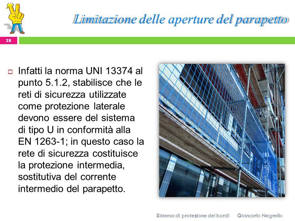 Limitazione delle aperture del parapetto Infatti la norma UNI 13374 al punto 5.1.2, stabilisce che le reti di sicurezza utilizzate come protezione lat