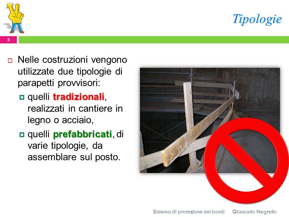 Tipologie Nelle costruzioni vengono utilizzate due tipologie di parapetti provvisori: tradizionali quelli tradizionali, realizzati in cantiere in legn