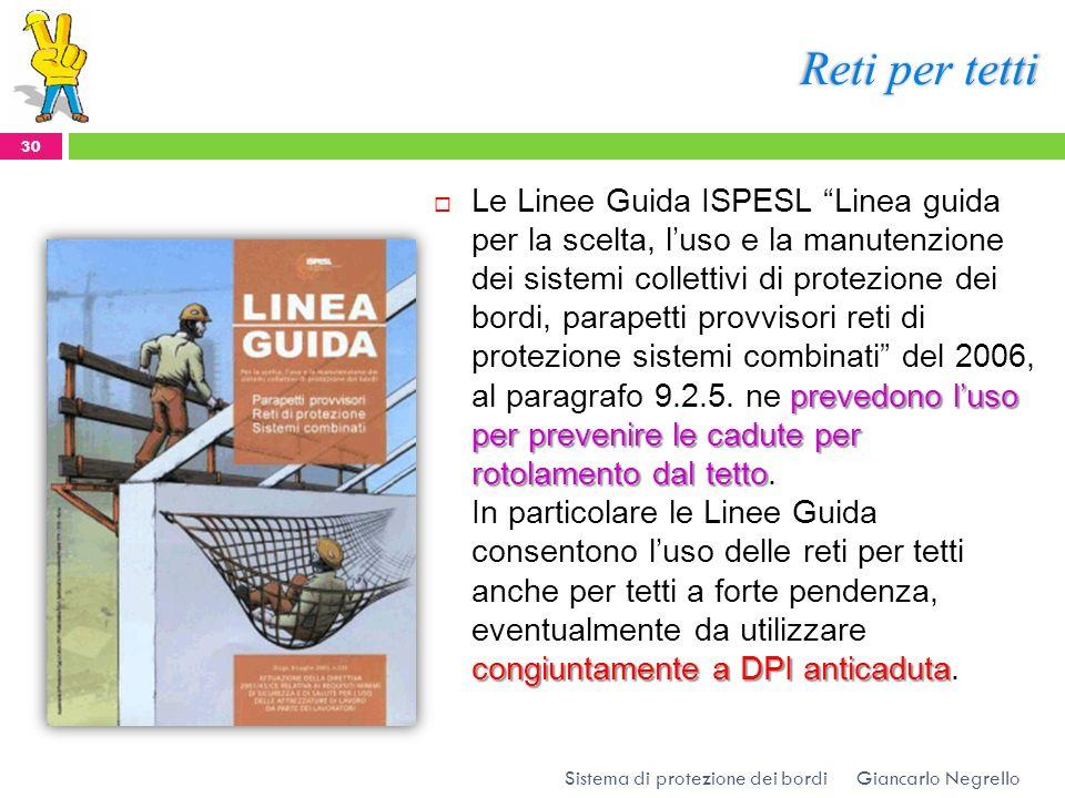Reti per tetti prevedono luso per prevenire le cadute per rotolamento dal tetto congiuntamente a DPI anticaduta Le Linee Guida ISPESL Linea guida per