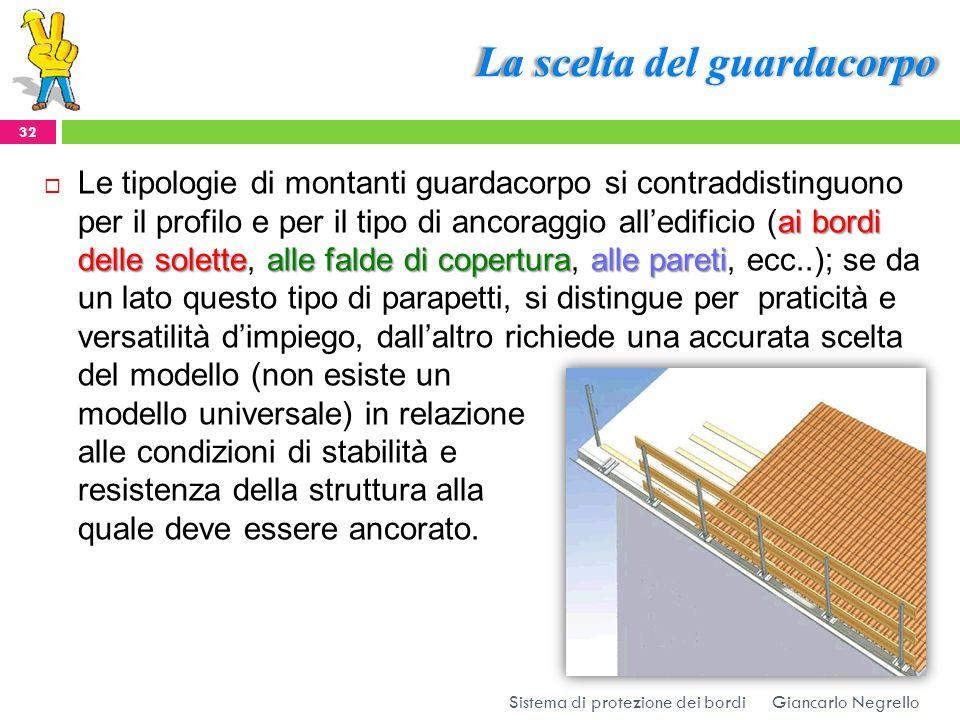 La scelta del guardacorpo Giancarlo Negrello Sistema di protezione dei bordi 32 ai bordi delle solettealle falde di coperturaalle pareti Le tipologie