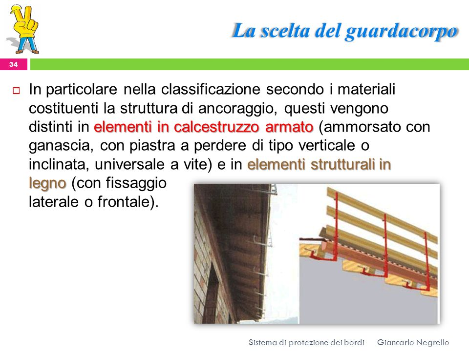 La scelta del guardacorpo Giancarlo Negrello Sistema di protezione dei bordi 34 elementi in calcestruzzo armato elementi strutturali in legno In parti