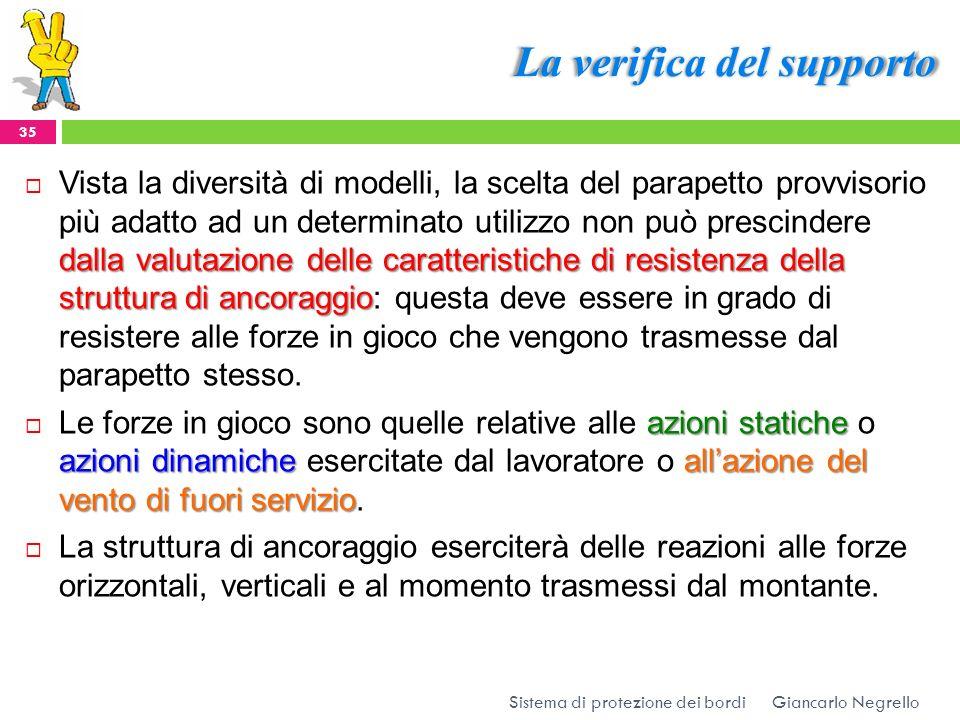 La verifica del supporto Giancarlo Negrello Sistema di protezione dei bordi 35 dalla valutazione delle caratteristiche di resistenza della struttura d