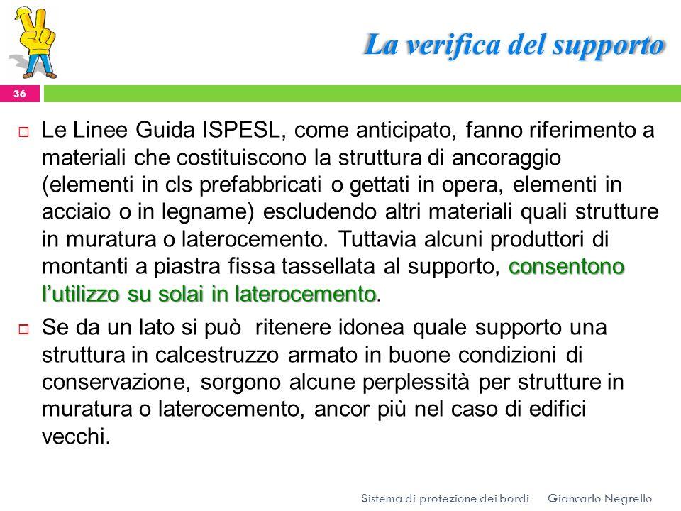 La verifica del supporto Giancarlo Negrello Sistema di protezione dei bordi 36 consentono lutilizzo su solai in laterocemento Le Linee Guida ISPESL, c