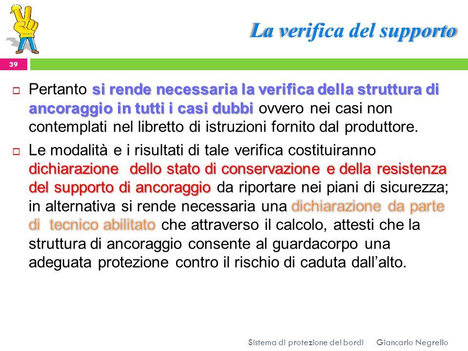 La verifica del supporto Giancarlo Negrello Sistema di protezione dei bordi 39