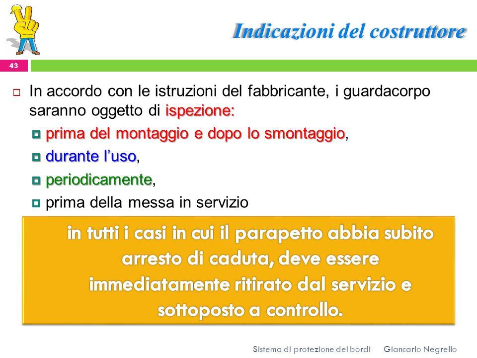Indicazioni del costruttore Giancarlo Negrello Sistema di protezione dei bordi 43 ispezione: In accordo con le istruzioni del fabbricante, i guardacor