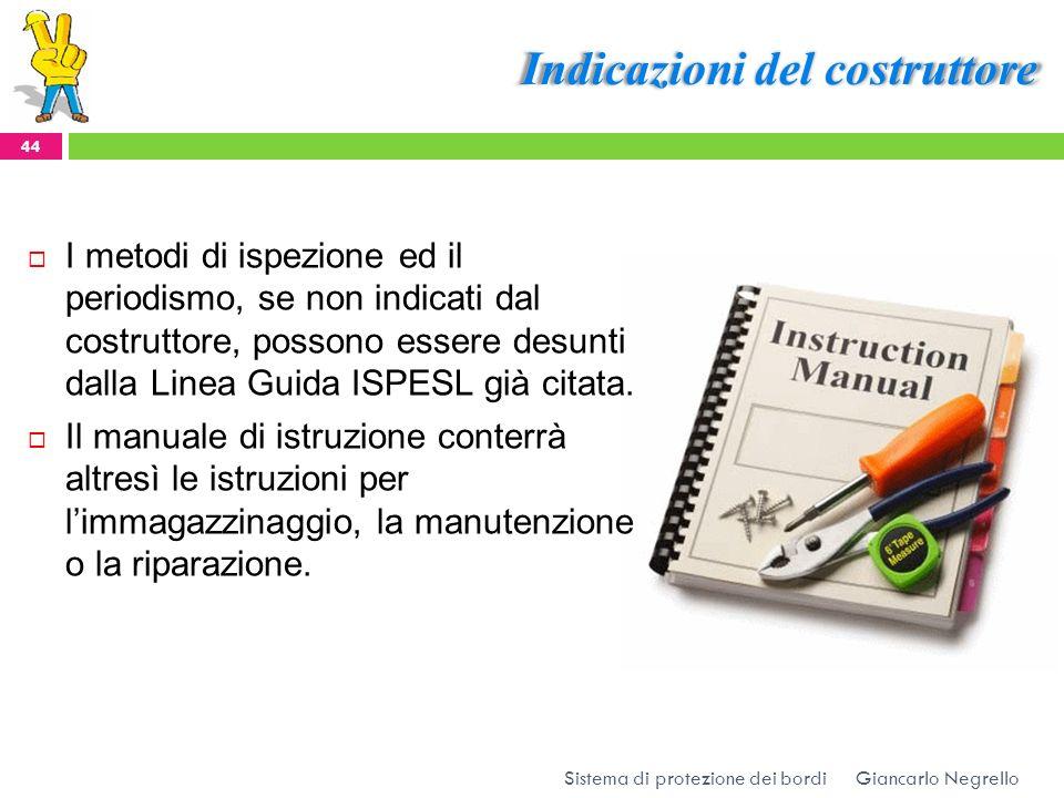 Indicazioni del costruttore Giancarlo Negrello Sistema di protezione dei bordi 44 I metodi di ispezione ed il periodismo, se non indicati dal costrutt