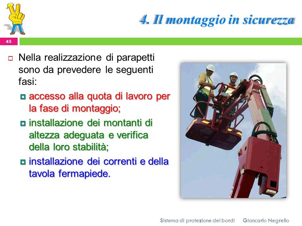 4. Il montaggio in sicurezza Giancarlo Negrello Sistema di protezione dei bordi 45 Nella realizzazione di parapetti sono da prevedere le seguenti fasi