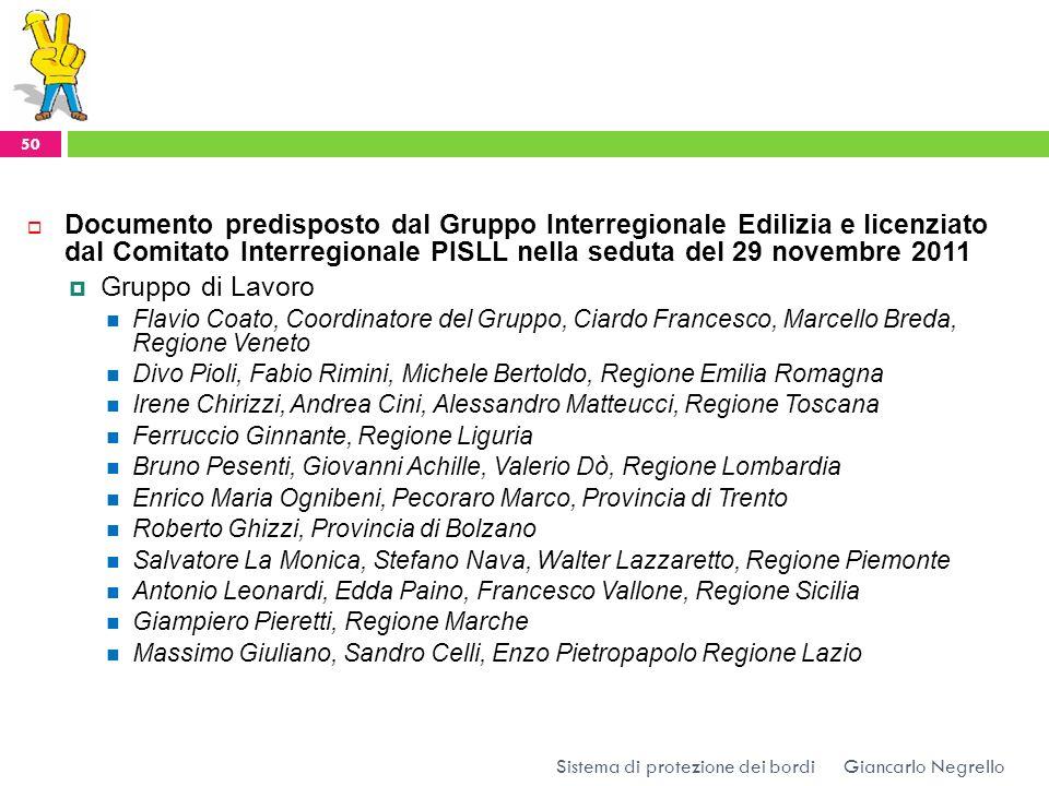 Documento predisposto dal Gruppo Interregionale Edilizia e licenziato dal Comitato Interregionale PISLL nella seduta del 29 novembre 2011 Gruppo di La