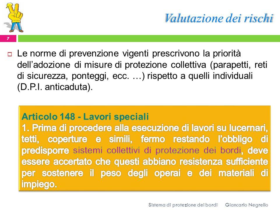 Valutazione dei rischi Le norme di prevenzione vigenti prescrivono la priorità delladozione di misure di protezione collettiva (parapetti, reti di sic