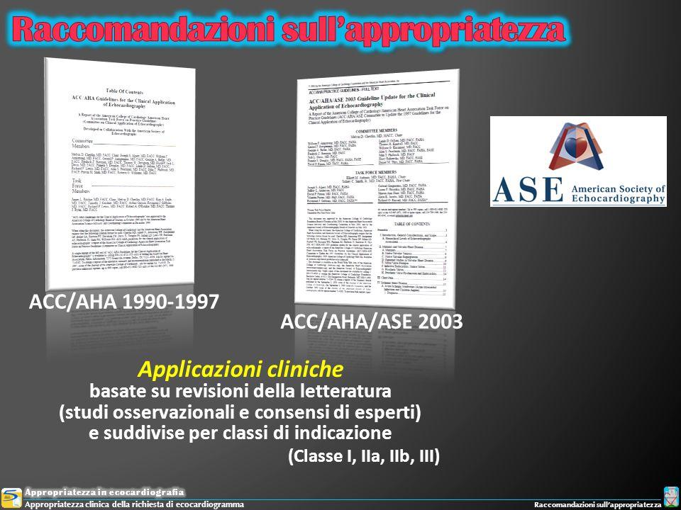 Appropriatezza clinica della richiesta di ecocardiogramma Raccomandazioni sullappropriatezza Applicazioni cliniche basate su revisioni della letteratu