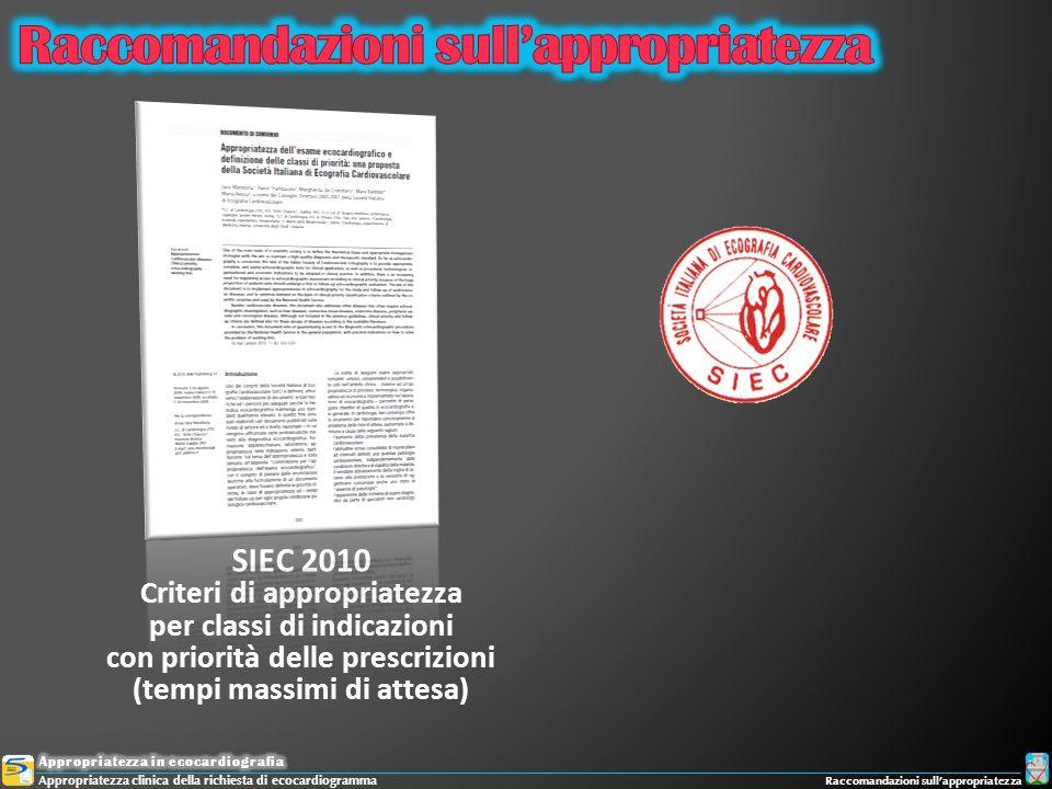 SIEC 2010 Criteri di appropriatezza per classi di indicazioni con priorità delle prescrizioni (tempi massimi di attesa) Appropriatezza clinica della r