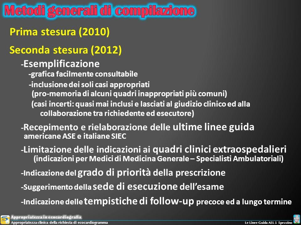 Prima stesura (2010) - Recepimento e rielaborazione delle ultime linee guida americane ASE e italiane SIEC - Limitazione delle indicazioni ai quadri c