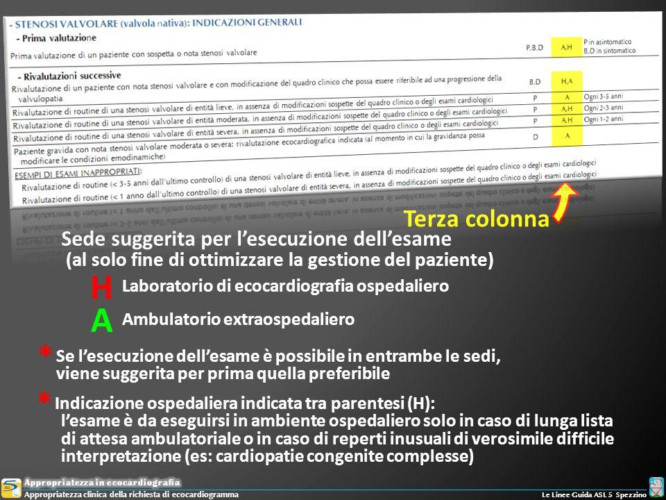 Terza colonna Sede suggerita per lesecuzione dellesame (al solo fine di ottimizzare la gestione del paziente) Laboratorio di ecocardiografia ospedalie