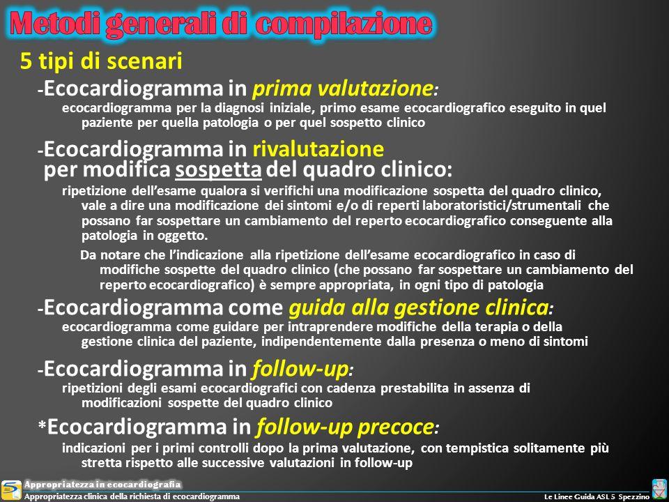 - Ecocardiogramma in prima valutazione : 5 tipi di scenari ecocardiogramma come guidare per intraprendere modifiche della terapia o della gestione cli