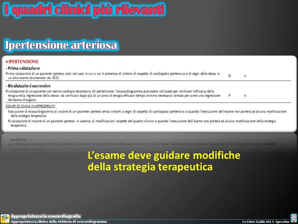 Lesame deve guidare modifiche della strategia terapeutica Appropriatezza clinica della richiesta di ecocardiogramma Le Linee Guida ASL 5 Spezzino
