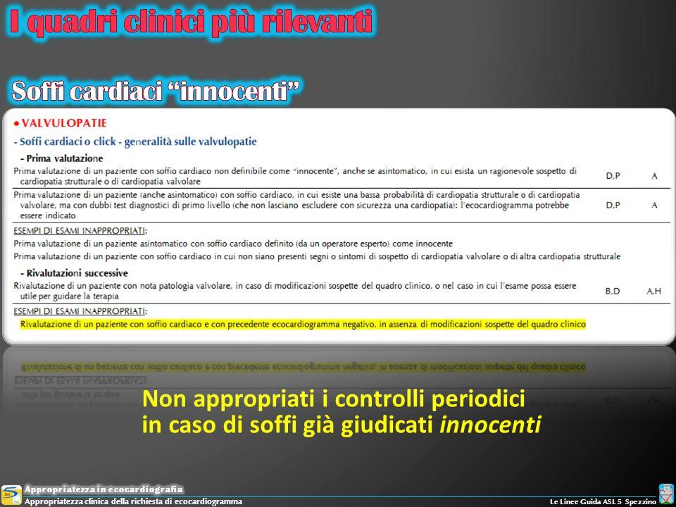 Non appropriati i controlli periodici in caso di soffi già giudicati innocenti Appropriatezza clinica della richiesta di ecocardiogramma Le Linee Guid