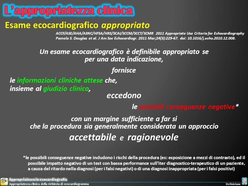 accettabile e ragionevole *le possibili conseguenze negative includono i rischi della procedura (es: esposizione a mezzi di contrasto), ed il possibil