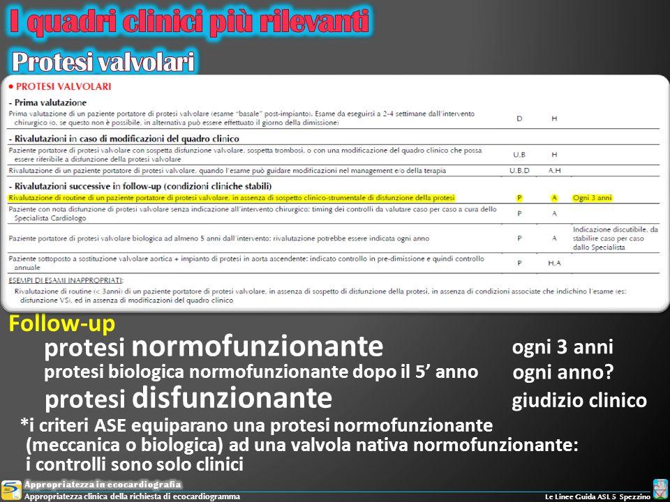 Follow-up protesi normofunzionante protesi disfunzionante ogni 3 anni giudizio clinico *i criteri ASE equiparano una protesi normofunzionante (meccani