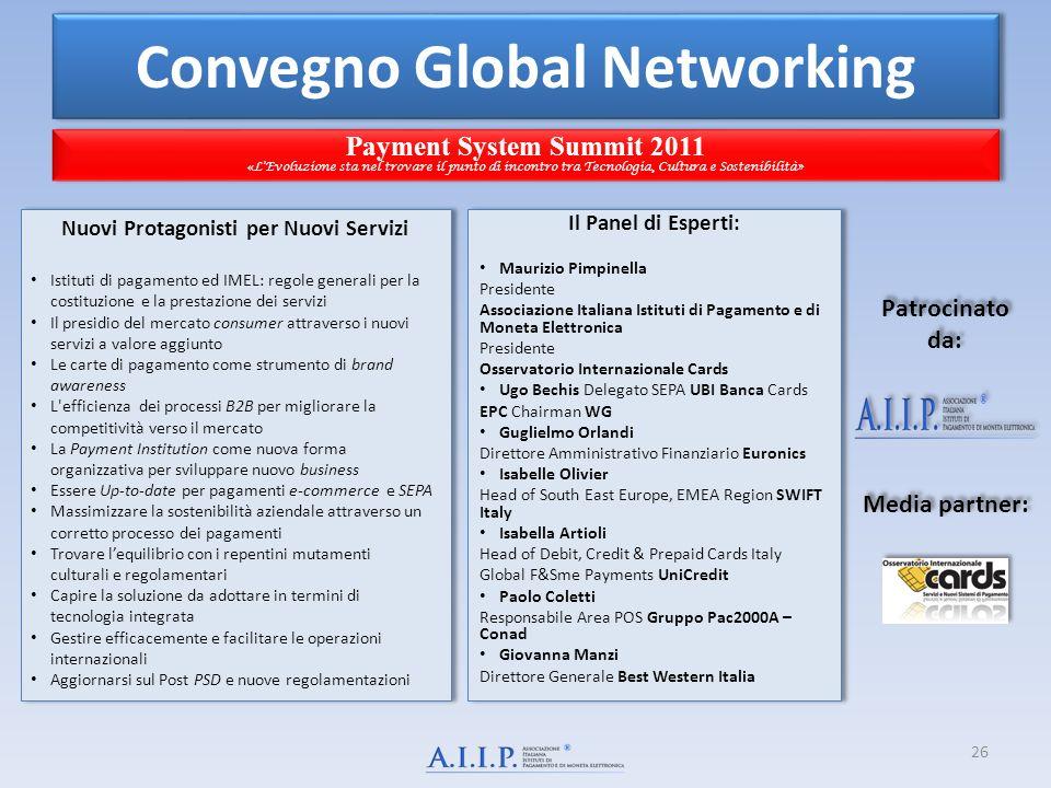 Convegno Global Networking Payment System Summit 2011 « LEvoluzione sta nel trovare il punto di incontro tra Tecnologia, Cultura e Sostenibilità» Paym