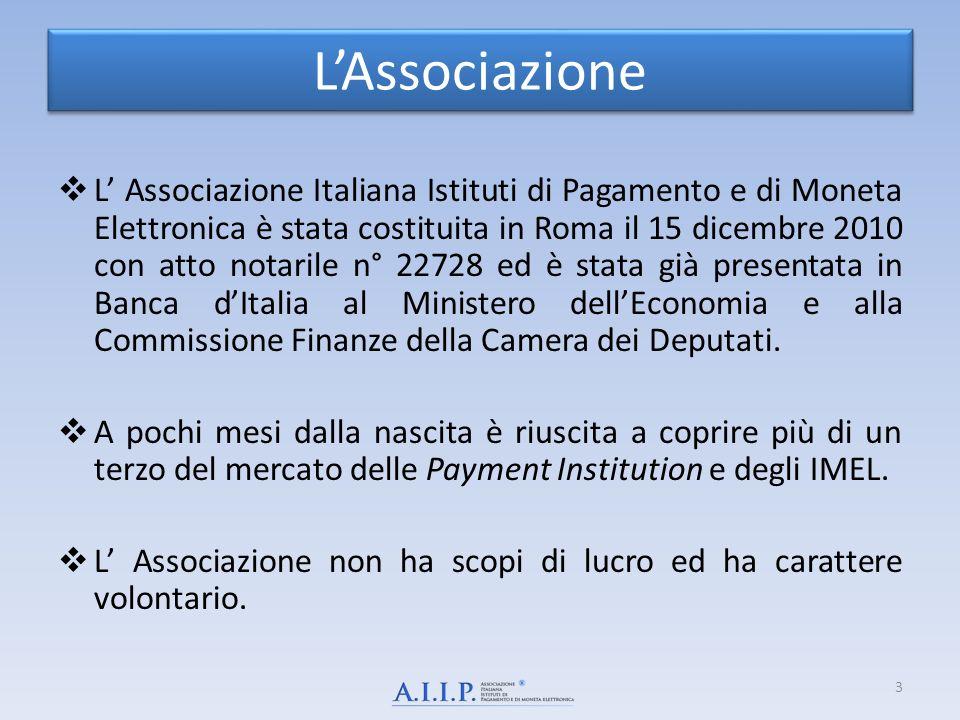 LAssociazione L Associazione Italiana Istituti di Pagamento e di Moneta Elettronica è stata costituita in Roma il 15 dicembre 2010 con atto notarile n