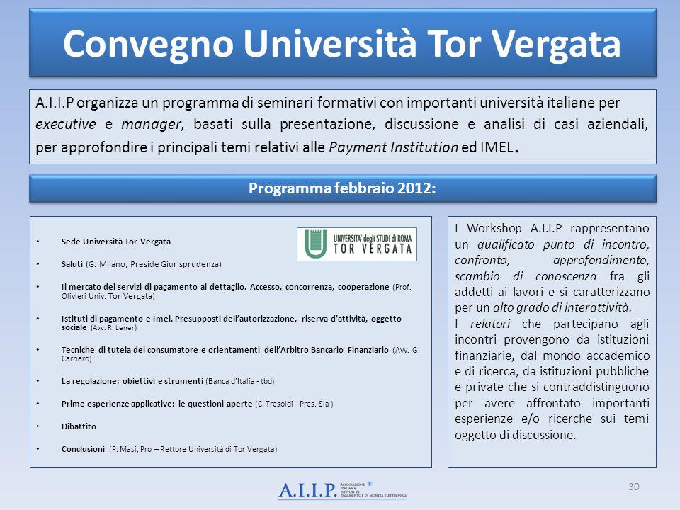 Convegno Università Tor Vergata A.I.I.P organizza un programma di seminari formativi con importanti università italiane per executive e manager, basat