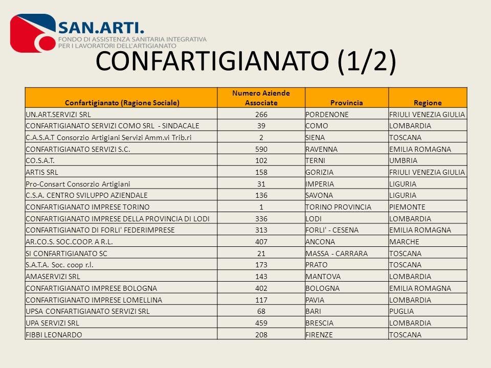 CONFARTIGIANATO (1/2) Confartigianato (Ragione Sociale) Numero Aziende AssociateProvinciaRegione UN.ART.SERVIZI SRL266PORDENONEFRIULI VENEZIA GIULIA C