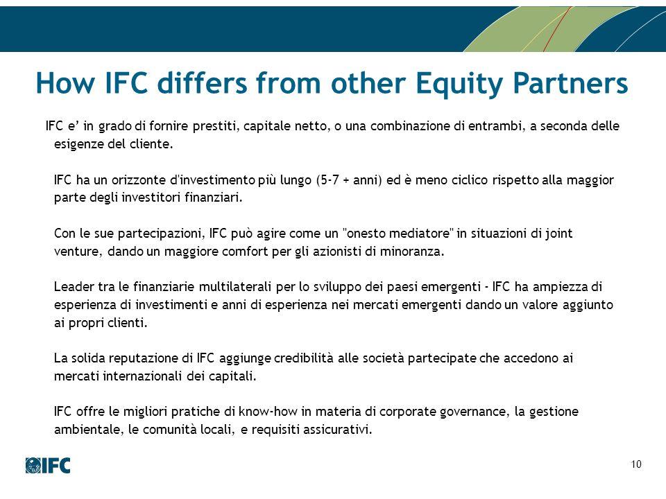 How IFC differs from other Equity Partners IFC e in grado di fornire prestiti, capitale netto, o una combinazione di entrambi, a seconda delle esigenz
