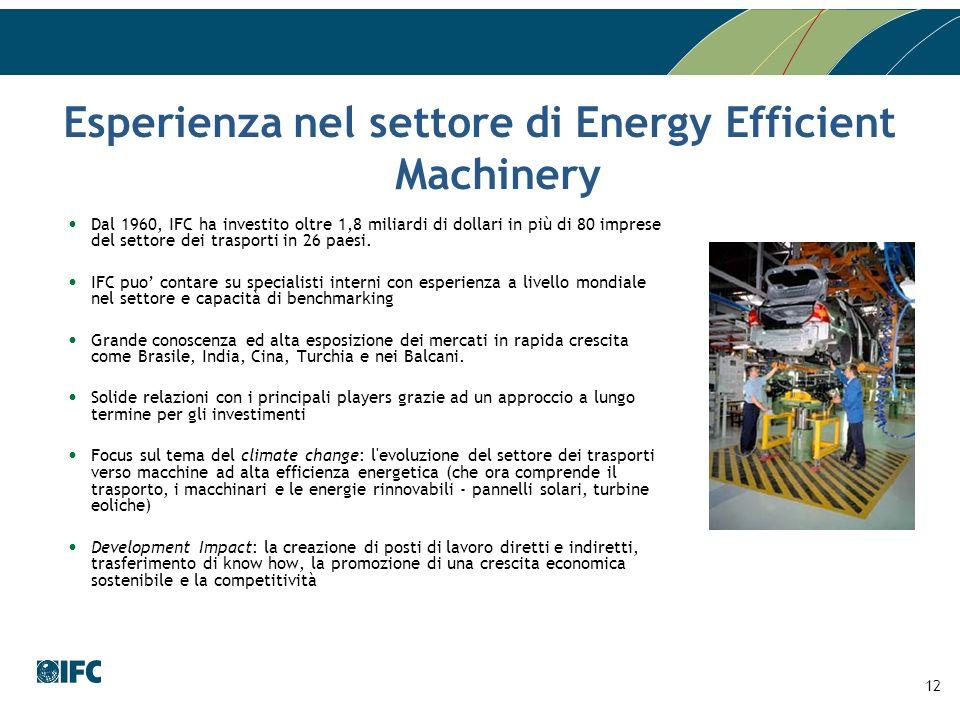 Esperienza nel settore di Energy Efficient Machinery Dal 1960, IFC ha investito oltre 1,8 miliardi di dollari in più di 80 imprese del settore dei tra