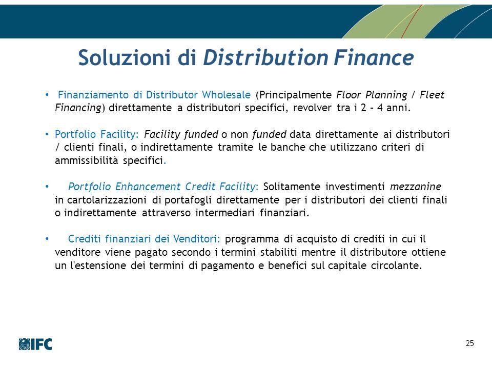 Finanziamento di Distributor Wholesale (Principalmente Floor Planning / Fleet Financing) direttamente a distributori specifici, revolver tra i 2 – 4 a