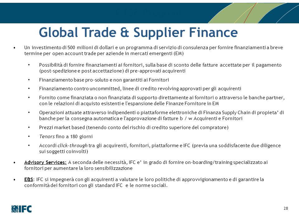 GTSF Program Un investimento di 500 milioni di dollari e un programma di servizio di consulenza per fornire finanziamenti a breve termine per open acc