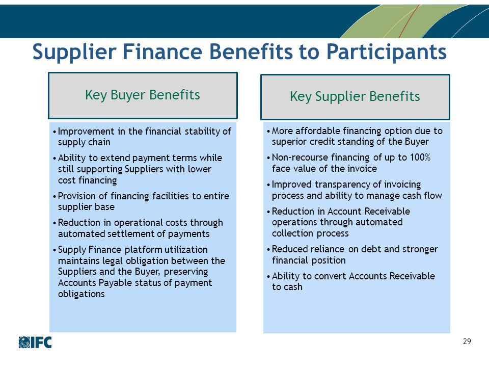 Supplier Finance Benefits to Participants Key Buyer Benefits Improvement in the financial stability of supply chain Ability to extend payment terms while still supporting Suppliers with lower cost financing Provision of financing facilities to entire supplier base Reduction in operational costs through automated settlement of payments Supply Finance platform utilization maintains legal obligation between the Suppliers and the Buyer, preserving Accounts Payable status of payment obligations Key Supplier Benefits More affordable financing option due to superior credit standing of the Buyer Non-recourse financing of up to 100% face value of the invoice Improved transparency of invoicing process and ability to manage cash flow Reduction in Account Receivable operations through automated collection process Reduced reliance on debt and stronger financial position Ability to convert Accounts Receivable to cash 29