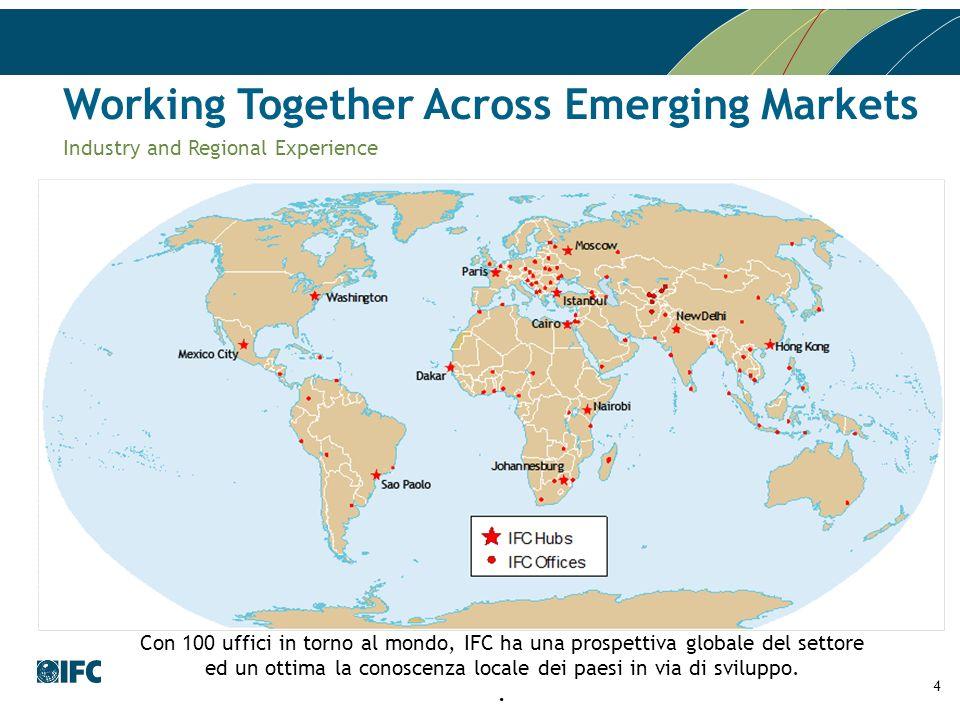 4 Con 100 uffici in torno al mondo, IFC ha una prospettiva globale del settore ed un ottima la conoscenza locale dei paesi in via di sviluppo.. Workin