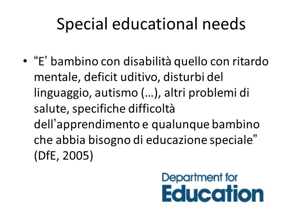 Special educational needs E bambino con disabilità quello con ritardo mentale, deficit uditivo, disturbi del linguaggio, autismo (…), altri problemi d