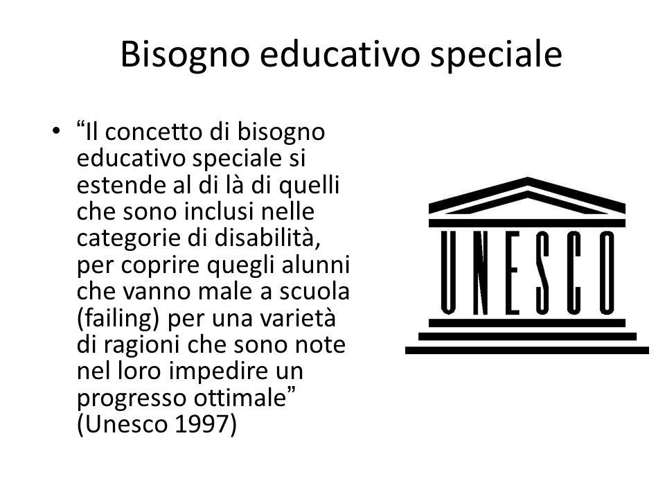 Bisogno educativo speciale Il concetto di bisogno educativo speciale si estende al di là di quelli che sono inclusi nelle categorie di disabilità, per