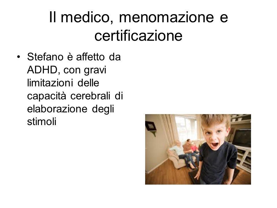 Il medico, menomazione e certificazione Stefano è affetto da ADHD, con gravi limitazioni delle capacità cerebrali di elaborazione degli stimoli