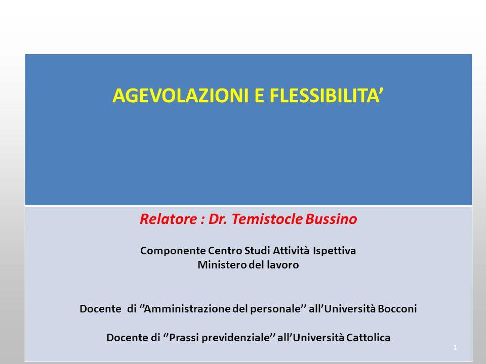 AGEVOLAZIONI E FLESSIBILITA Relatore : Dr. Temistocle Bussino Componente Centro Studi Attività Ispettiva Ministero del lavoro Docente di Amministrazio