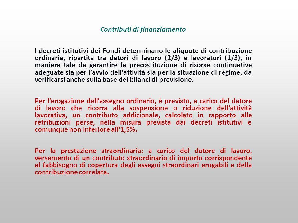 Contributi di finanziamento I decreti istitutivi dei Fondi determinano le aliquote di contribuzione ordinaria, ripartita tra datori di lavoro (2/3) e