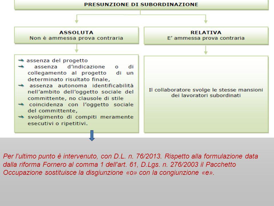 Per l'ultimo punto è intervenuto, con D.L. n. 76/2013. Rispetto alla formulazione data dalla riforma Fornero al comma 1 dell'art. 61, D.Lgs. n. 276/20