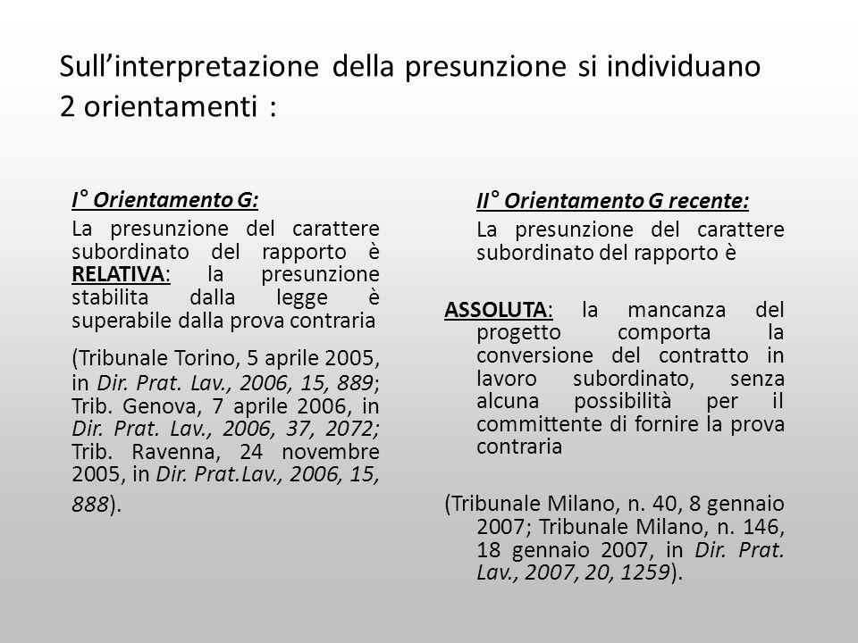 Sullinterpretazione della presunzione si individuano 2 orientamenti : I° Orientamento G: La presunzione del carattere subordinato del rapporto è RELAT