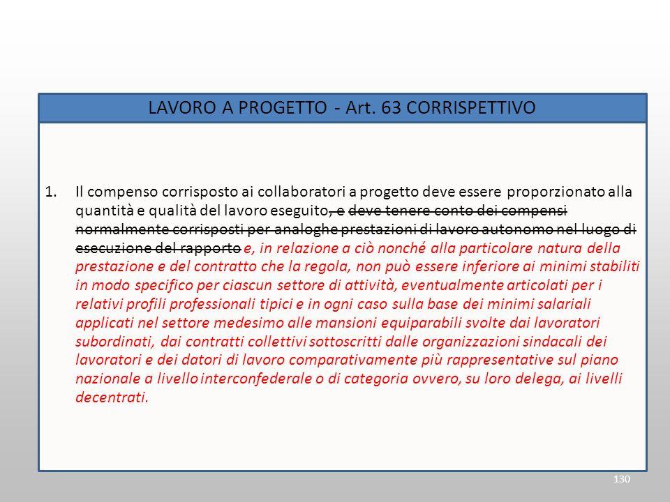 130 LAVORO A PROGETTO - Art. 63 CORRISPETTIVO 1.Il compenso corrisposto ai collaboratori a progetto deve essere proporzionato alla quantità e qualità