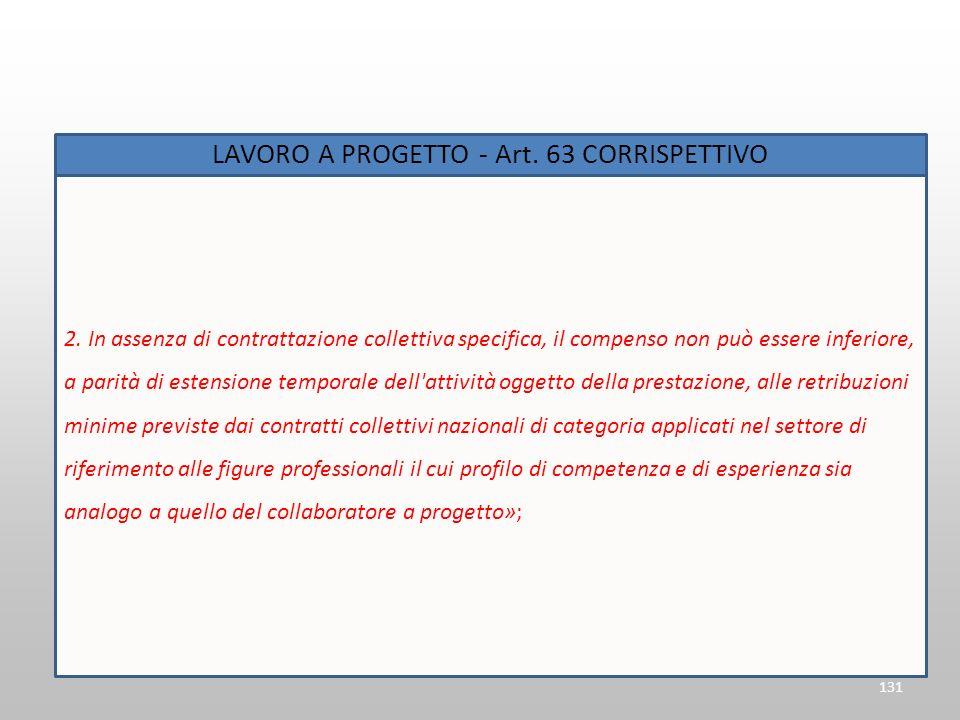 131 LAVORO A PROGETTO - Art. 63 CORRISPETTIVO 2. In assenza di contrattazione collettiva specifica, il compenso non può essere inferiore, a parità di