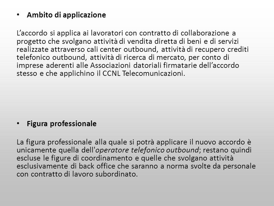 Ambito di applicazione Laccordo si applica ai lavoratori con contratto di collaborazione a progetto che svolgano attività di vendita diretta di beni e