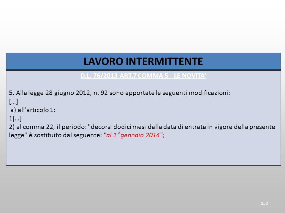 LAVORO INTERMITTENTE D.L. 76/2013 ART.7 COMMA 5 - LE NOVITA 5. Alla legge 28 giugno 2012, n. 92 sono apportate le seguenti modificazioni: […] a) all'a