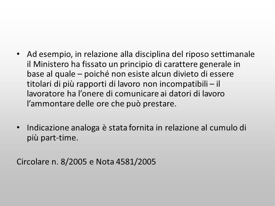 Ad esempio, in relazione alla disciplina del riposo settimanale il Ministero ha fissato un principio di carattere generale in base al quale – poiché n