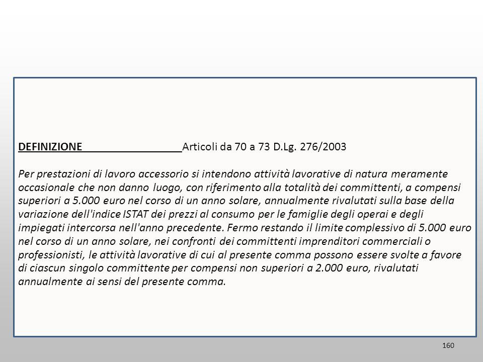 160 DEFINIZIONE Articoli da 70 a 73 D.Lg. 276/2003 Per prestazioni di lavoro accessorio si intendono attività lavorative di natura meramente occasiona