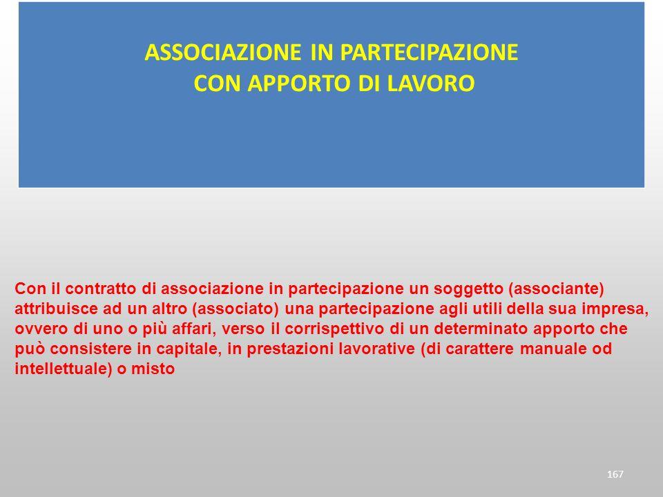 ASSOCIAZIONE IN PARTECIPAZIONE CON APPORTO DI LAVORO 167 Con il contratto di associazione in partecipazione un soggetto (associante) attribuisce ad un