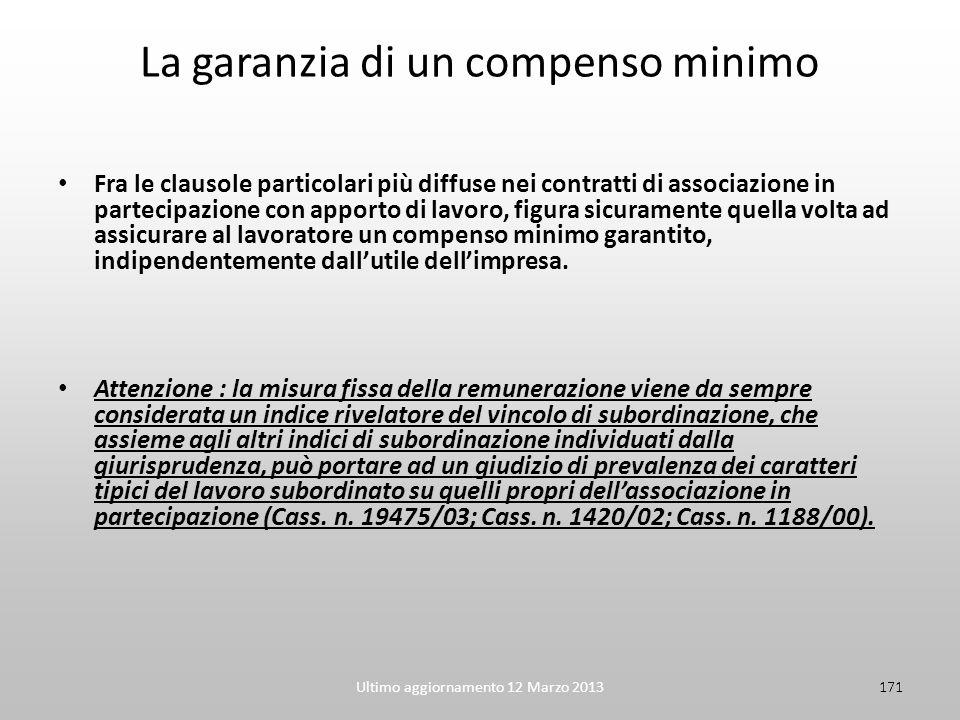 Ultimo aggiornamento 12 Marzo 2013171 La garanzia di un compenso minimo Fra le clausole particolari più diffuse nei contratti di associazione in parte